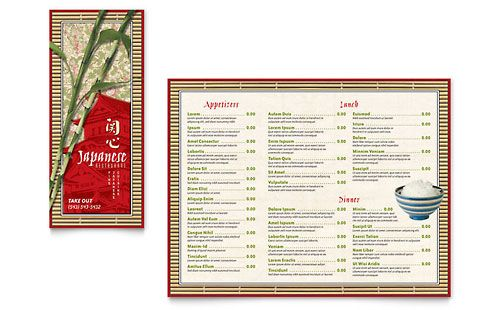 Japanese Restaurant  TakeOut Brochure Template  Wok Enrikito