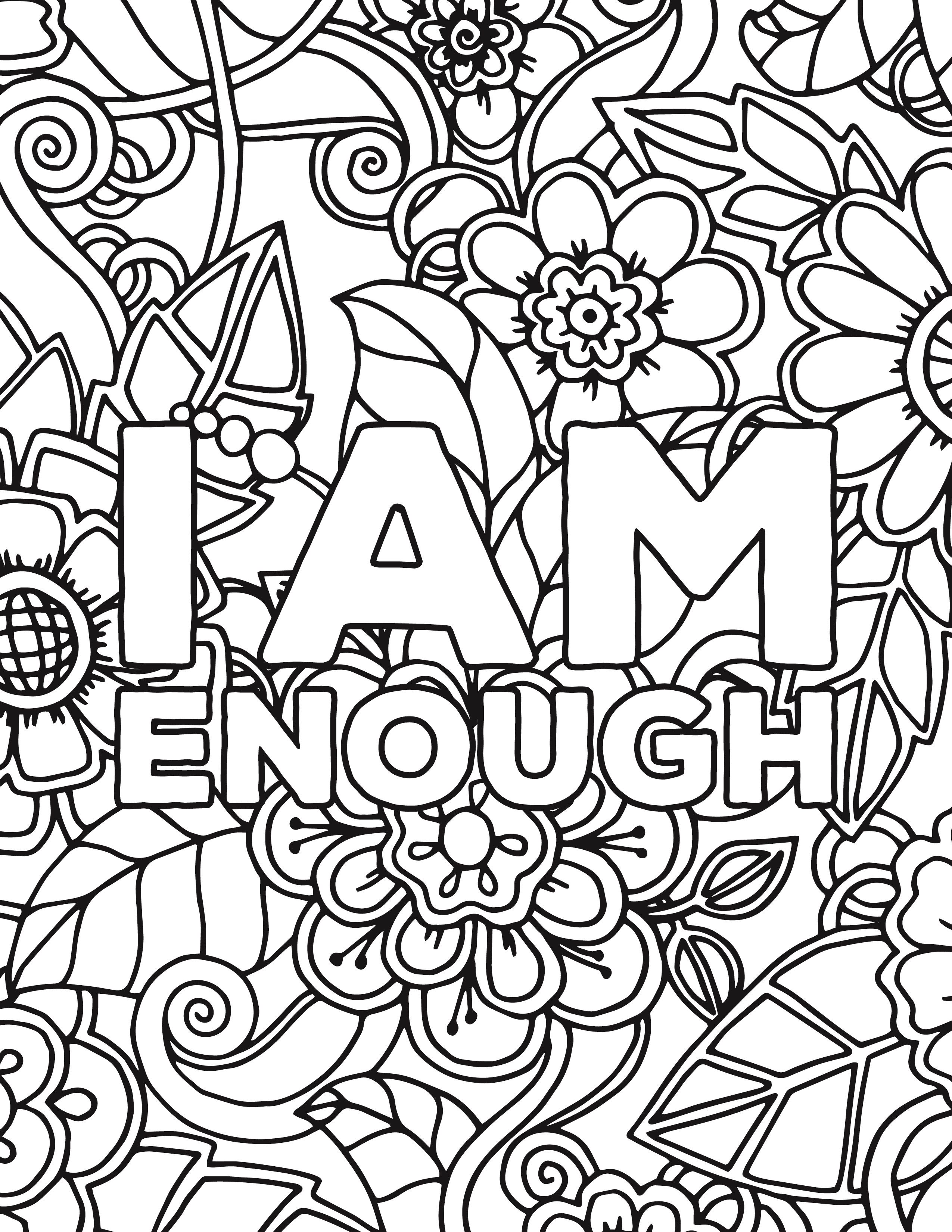 Floral + Affirmations Coloring Pages  totallifecare  Love