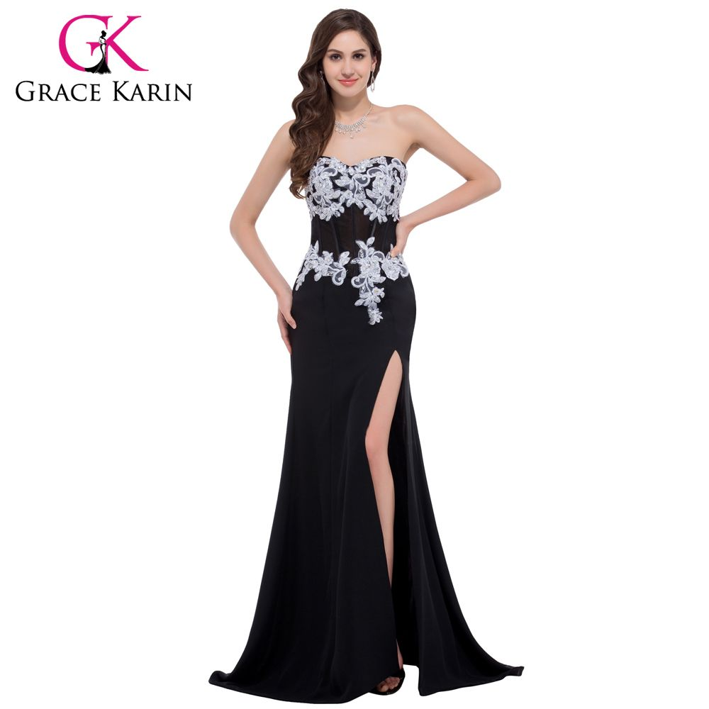 Black evening dress lace mermaid party prom gowns in fashion