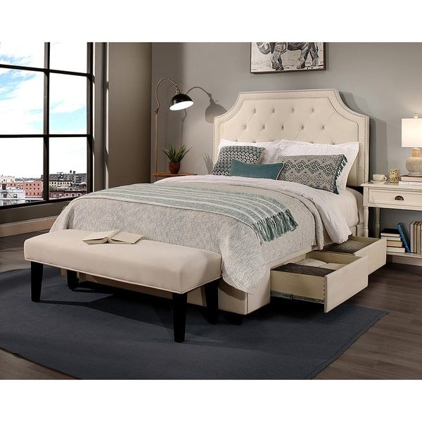 Republic Design House Audrey Tufted Ivory King Size Storage Bed