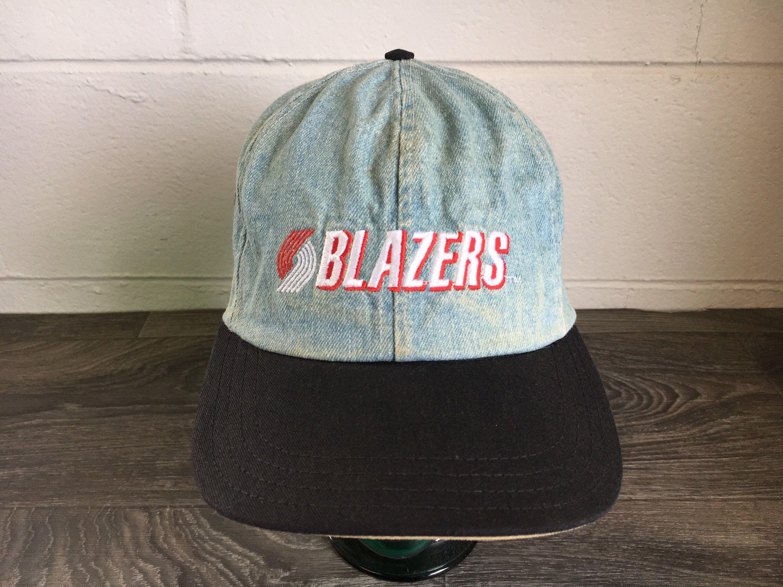 aaa29f654e0 Blazers Denim Hat Vtg 90s Rip City Portland Nba Strap Back Spell Out Jean  Basketball Sports
