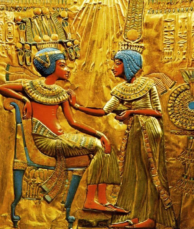 Tutankamn y su esposa h 1330 aC Detalle del trono de madera