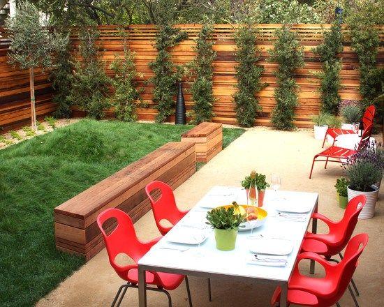 gartenzaun holz sichtschutz terrasse essbereich sitzbank | Garten ...
