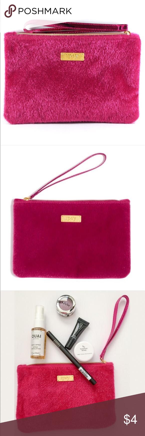 "7e22bc580b ipsy ""Carpe P.M."" Pink Fur Glam Bag Makeup Case ipsy ""Carpe P.M."""