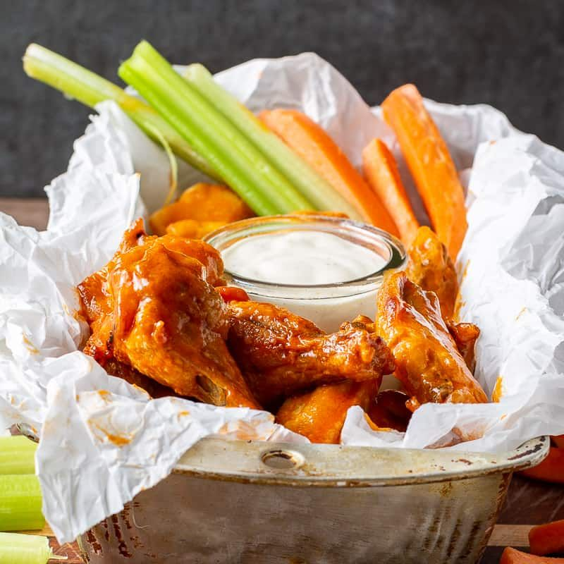 Air fryer chicken wings with buffalo sauce recipe in