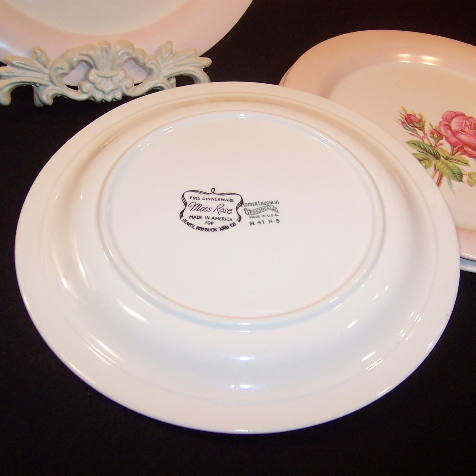 FOUR 9 1/4  Dinner Plates Homer Laughlin Moss Rose (Great Cond. u0026 Double Marked) & FOUR 9 1/4