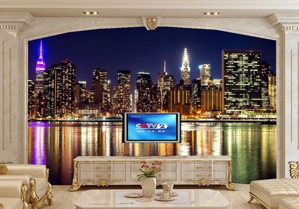 USA Houses Skyscrapers Rivers New York City Night Wallpaperrestaurant Living Room TV Background Sofa