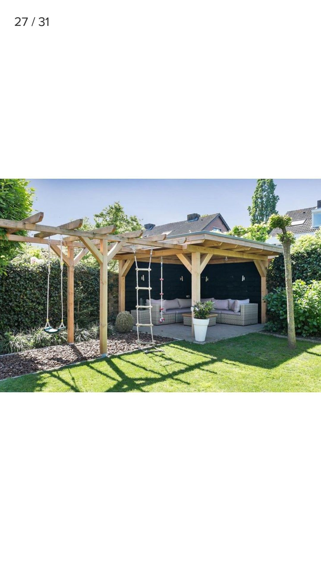 Photo of Beautiful covered garden seating area/ den and children's climbing frame#area #beautiful #childrens
