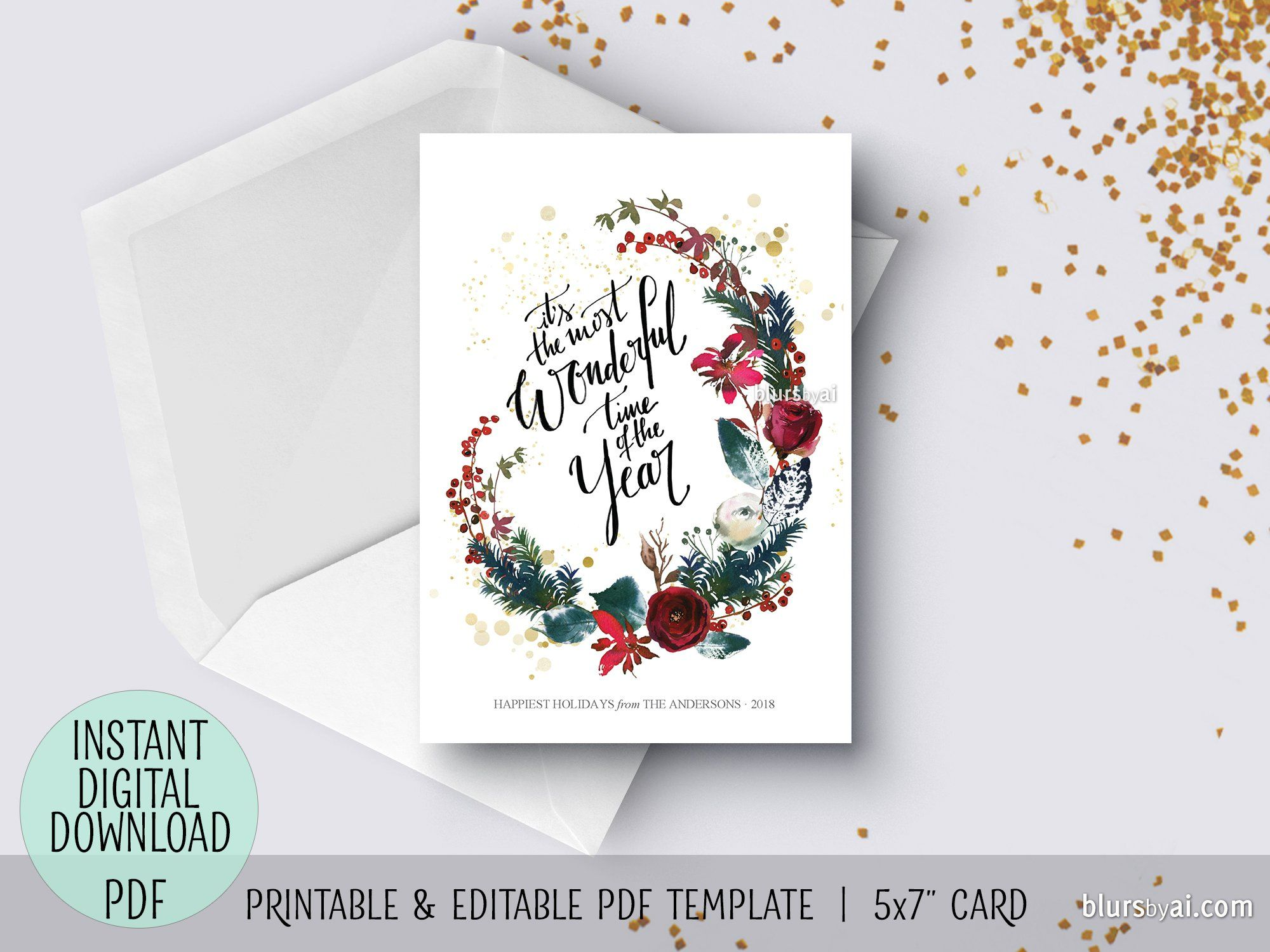 Editable Pdf Christmas Card Template It S The Most Wonderful Time Of The Year Christmas Card Template Simple Christmas Cards Christmas Cards