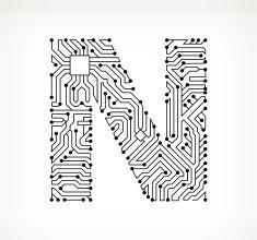 Letter N Circuit Board on White Background vector art illustration ...
