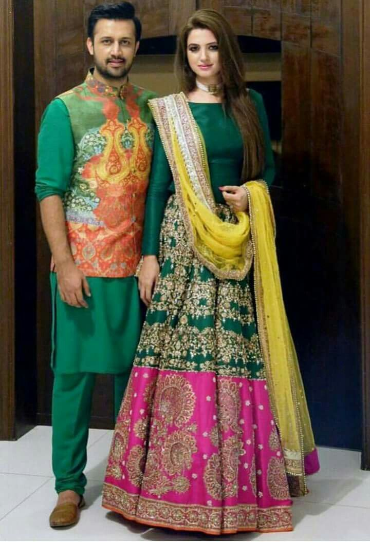 Green and pink mehndi outfit