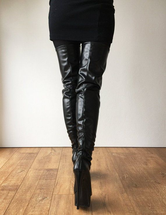 84a99bdbd1f0 RTBU 15cm IAN Platform 70cm Mid-Thigh Crotch Runway Cat Women Boot Black  Matte