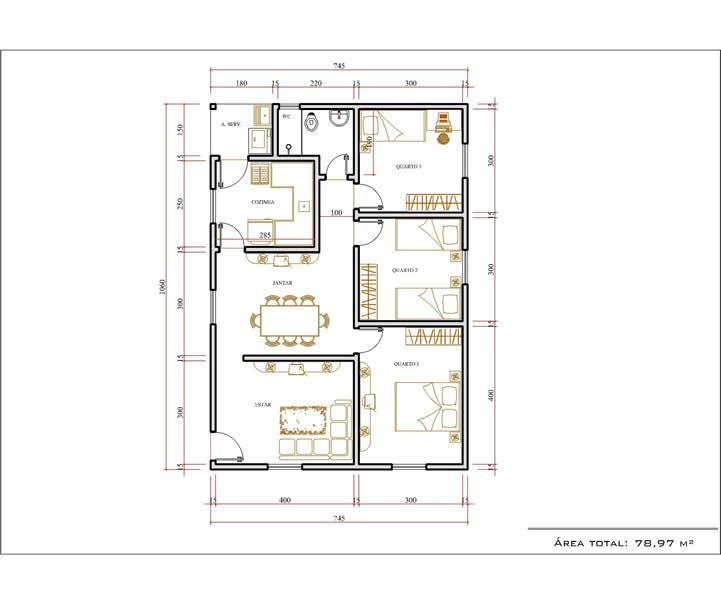 Monte Sua Casa  Arquitetura Pinterest - plan maison plain pied 200m2