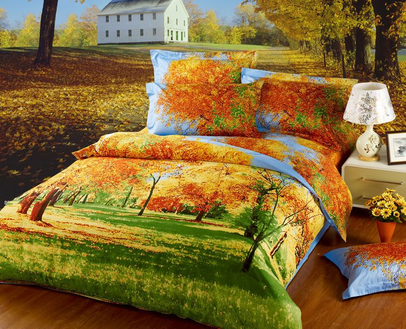 2013 Autumn Maple Tree Scenery Queen Size 3D Oil Painting
