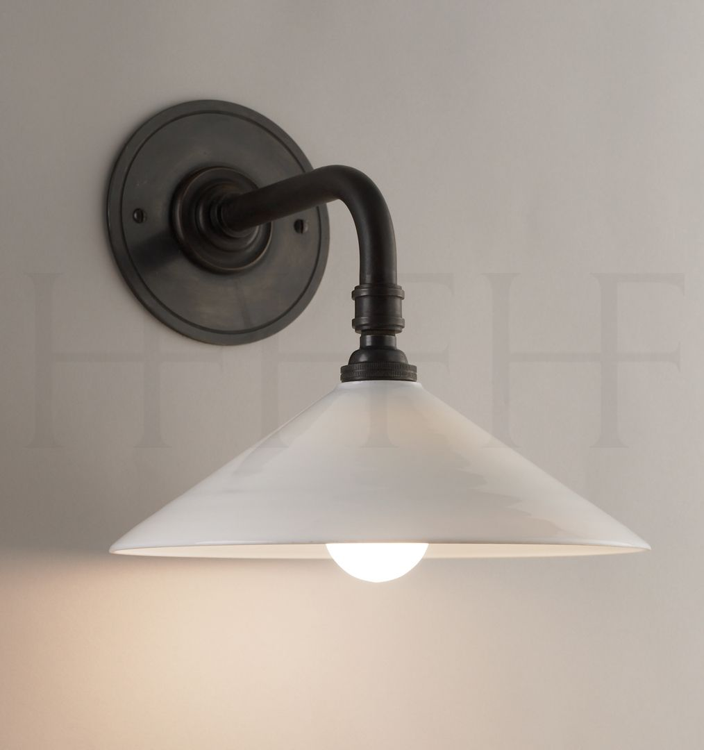 Glass Coolie Wall Light Straight Arm Bracket By Hector Finch Suitable For Bathroom
