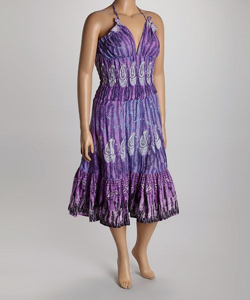Take a look at the Purple Paisley Halter Dress - Plus on #zulily today!