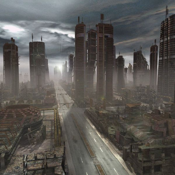 Ruined Destroyed City 3d Model Ruined City Cool Landscapes City