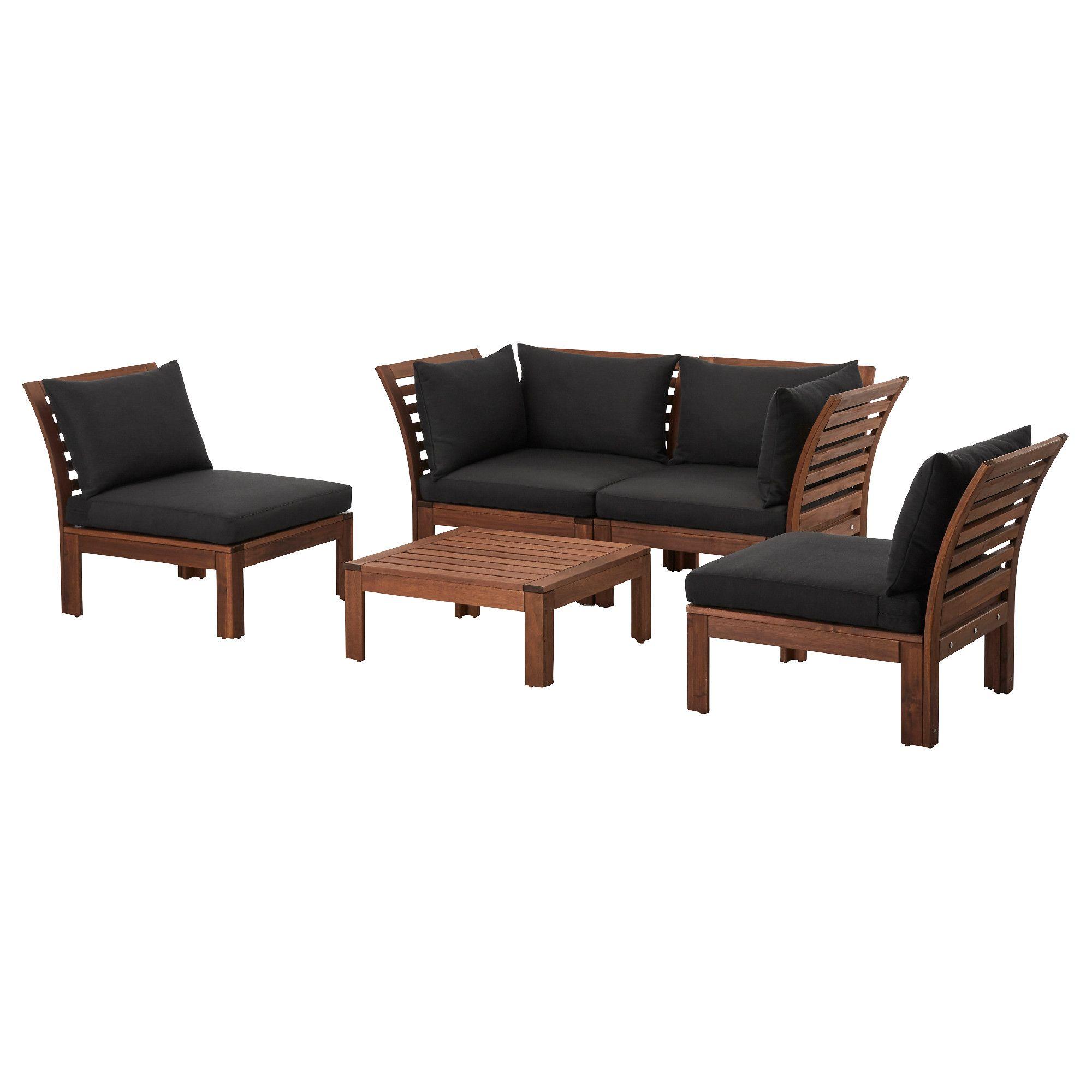 ÄPPLARÖ 4seat conversation set, outdoor brown stained