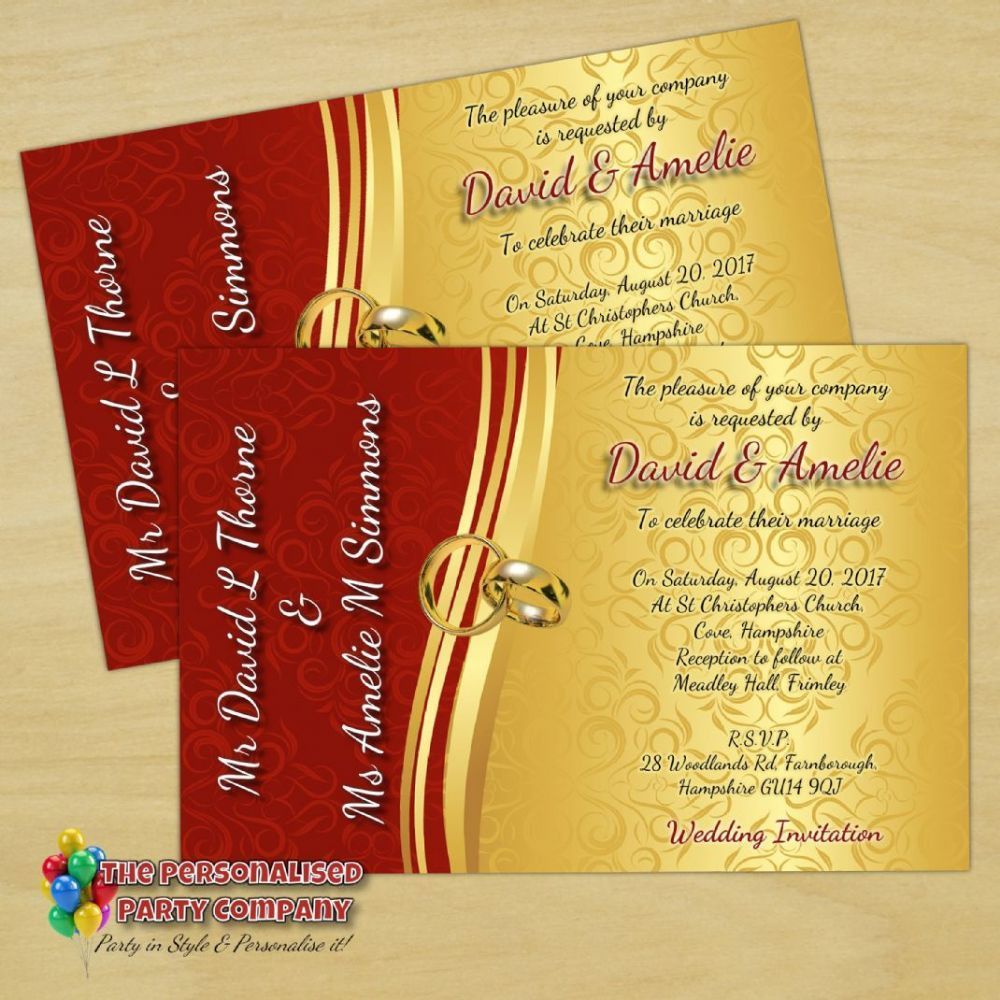 10 Personalised Red & Gold Wedding Invitations Day / Evening N66 ...