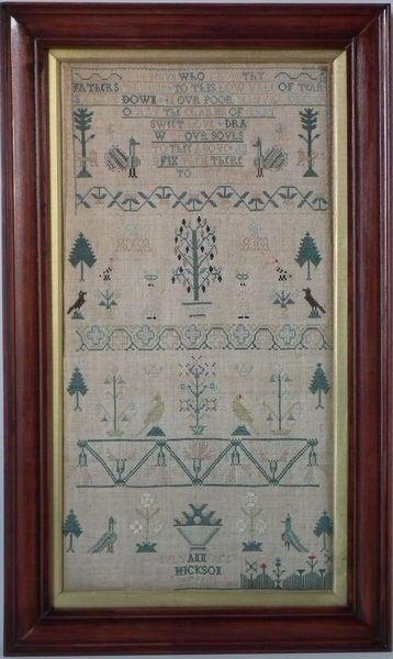 Antique Sampler, 1755 Motif Sampler by Anne Hickson | ID#18800 | Madelena