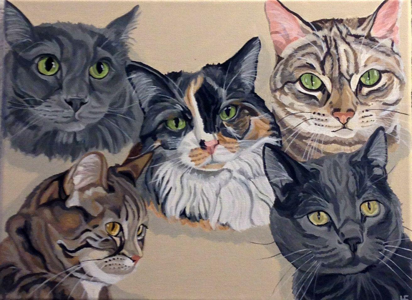 Multiple Pet Portrait, Custom Pet Portrait, Cat Painting