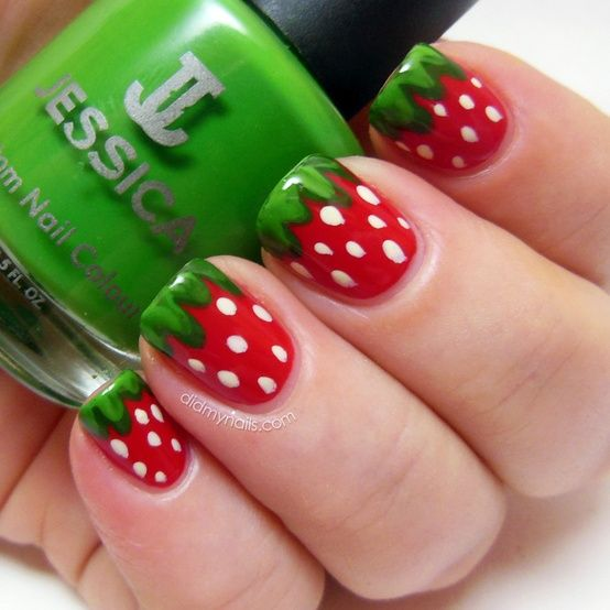 Strawberry Nail Art For Her Shortcake Party