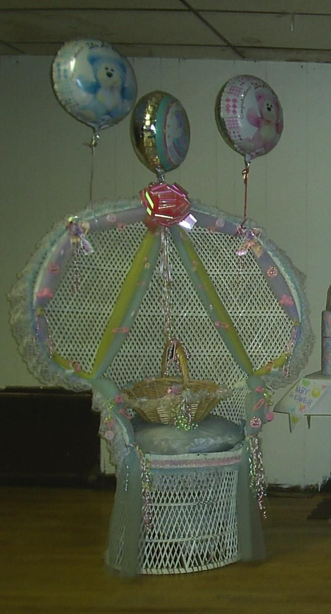 Decorated Wicker Chair For A Baby Shower Baby Shower