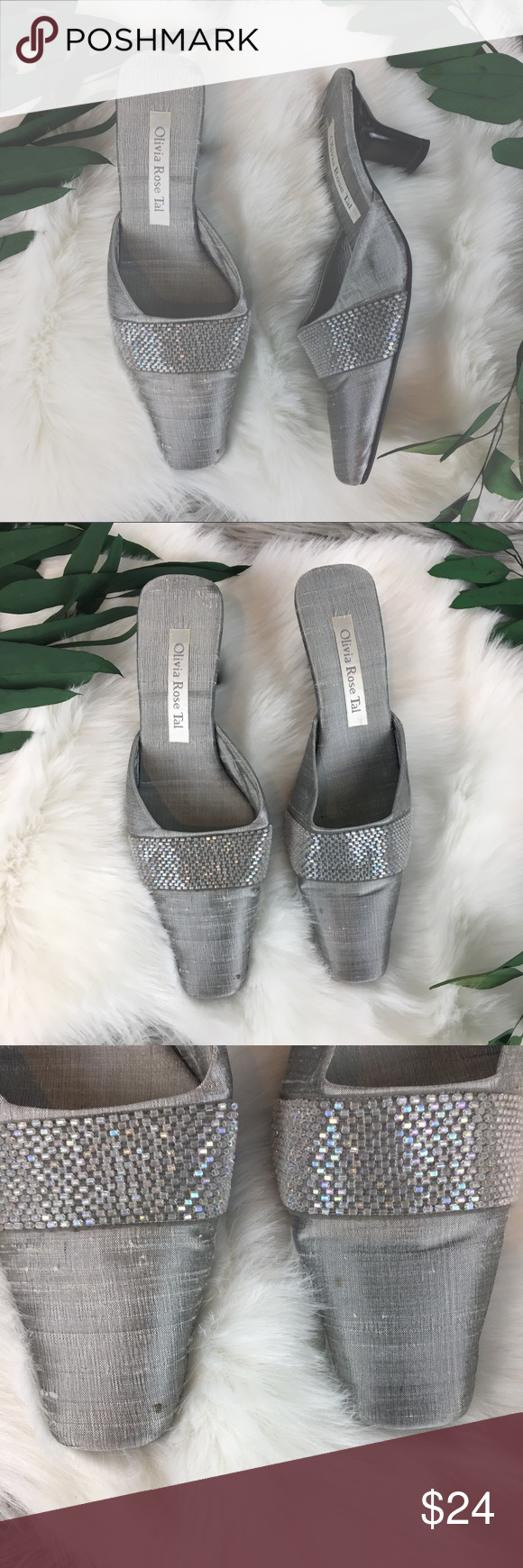 8033e41b0555 Olivia Rose Tal Silver Silk Mules size 7 Olivia Rose Tal Gray Silk Mules  with iridescent beading. Includes box. Size 7 Any imperfections are  pictured.