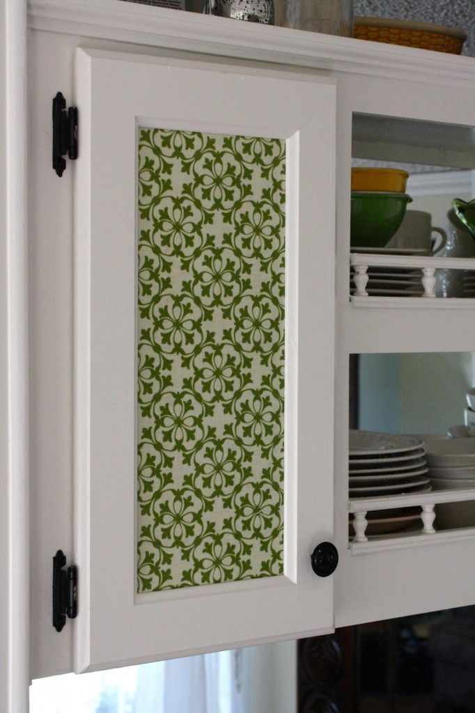 Diy Update Your Kitchen With Fabric Cabinet Door Inserts A Side