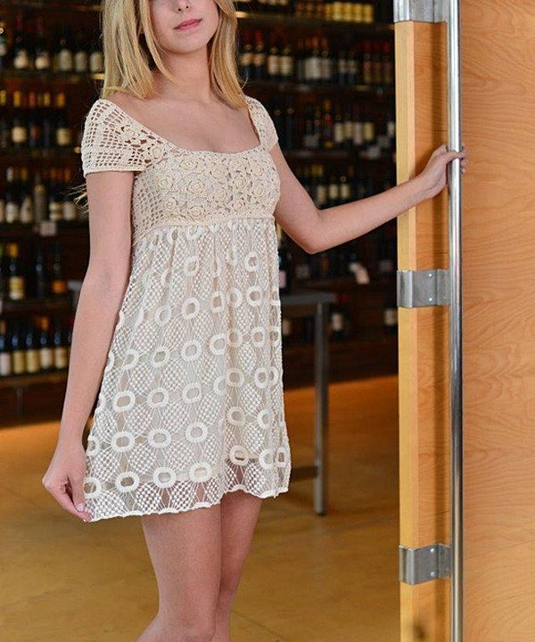 Look at this SoHo Chick Ivory Crocheted-Overlay Empire-Waist Dress on #zulily today!