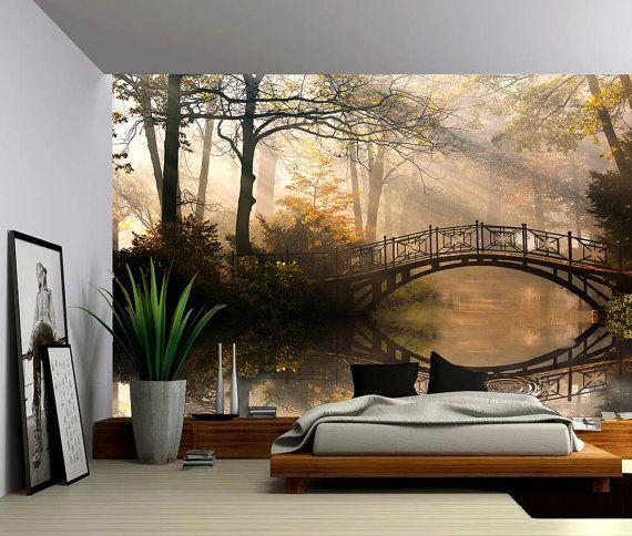 Autumn Park Large Wall Mural Self adhesive Vinyl Wallpaper Peel