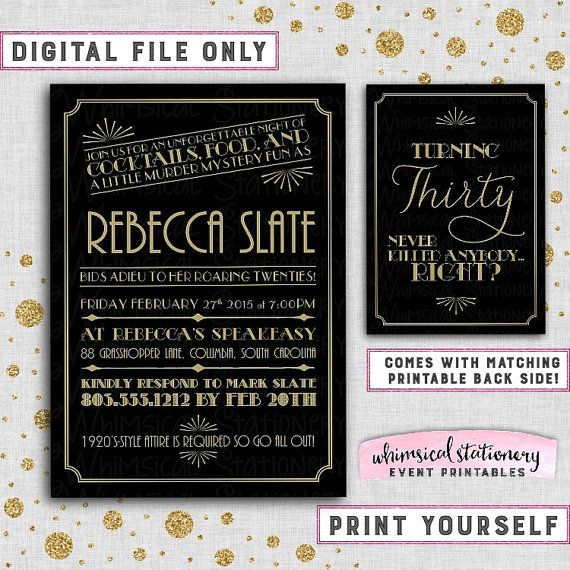 1920s murder mystery dinner party by auroragraphicstudio on etsy birthday invitation deco glam printable file only murder mystery party mystery dinner party roaring speakeasy party twenties stopboris Image collections