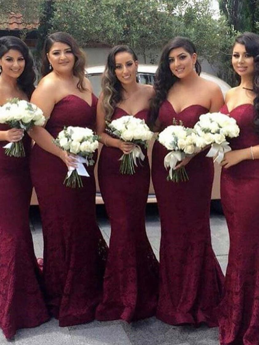 Strapless mermaid long burgundy lace bridesmaid dress in