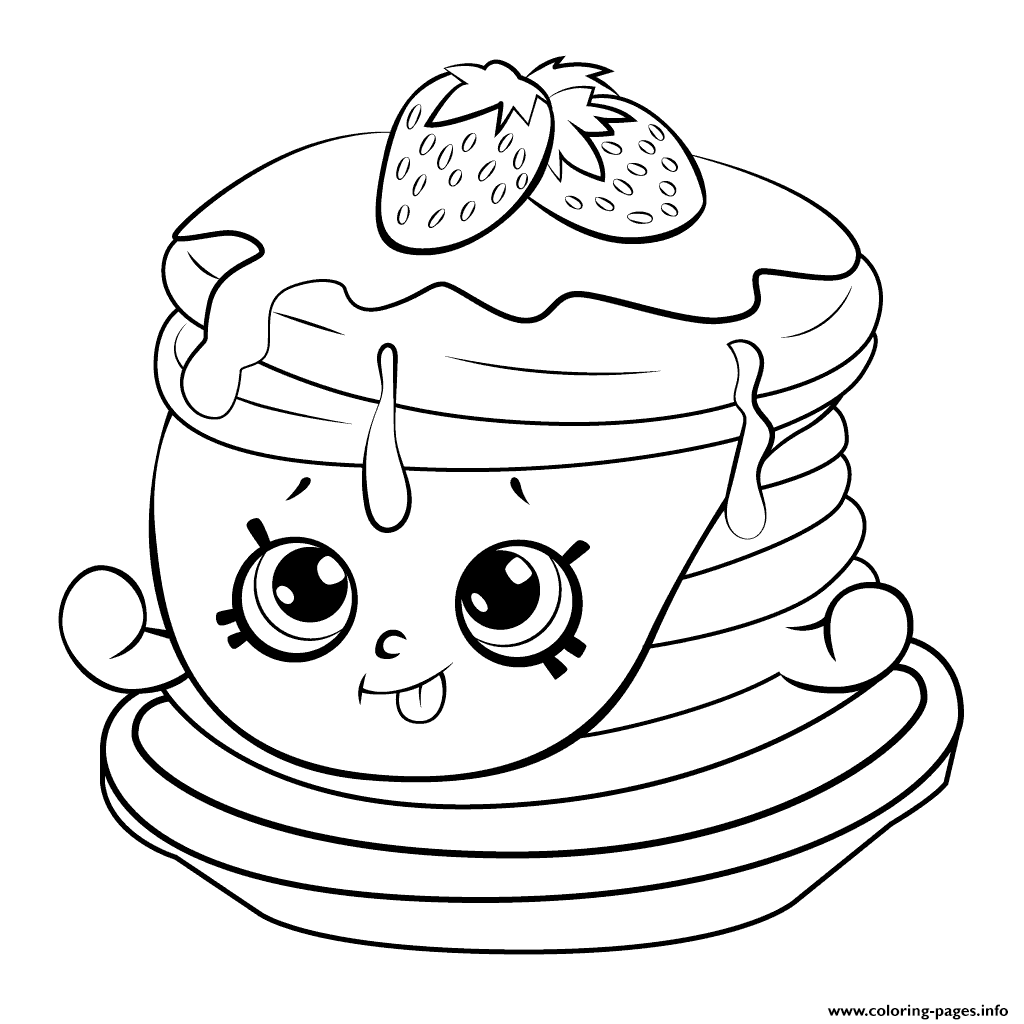 Coloring games of shopkins - Print Ultra Rare Strawberry Pancake Shopkins Season 6 Coloring Pages