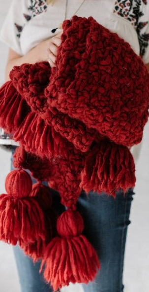 Knit Collage Patterns Mistletoe Tassel Scarf Pdf Download