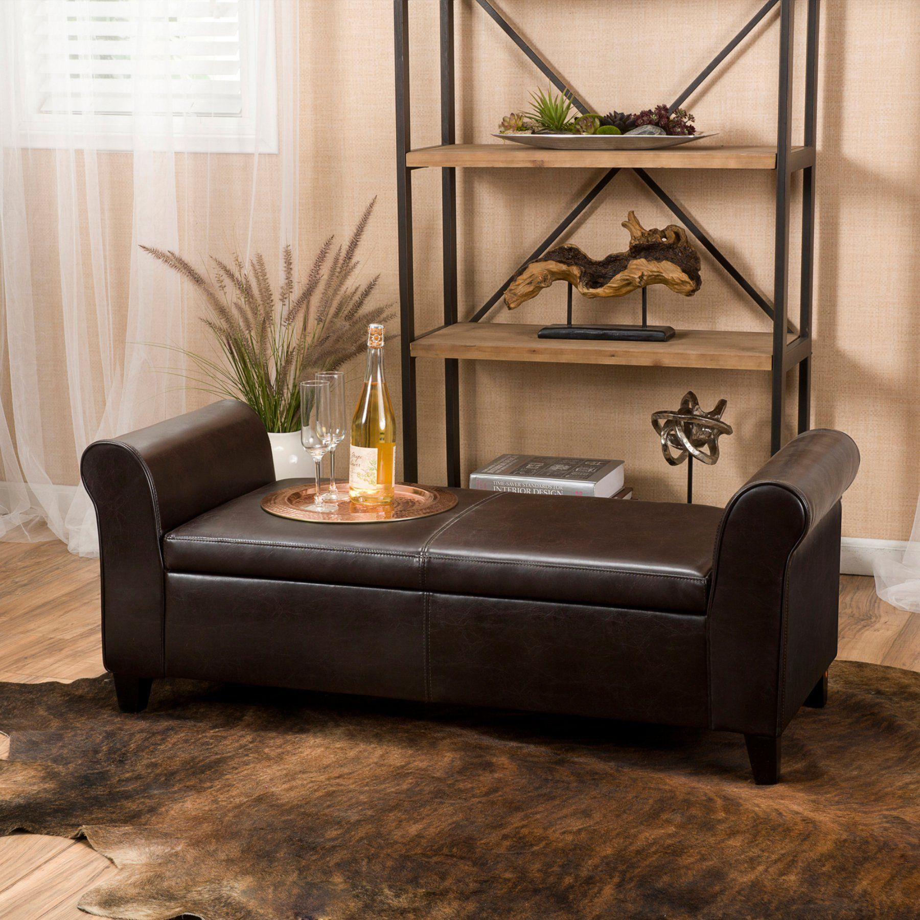 Best Selling Home Martin Faux Leather Bedroom Bench with Storage ...