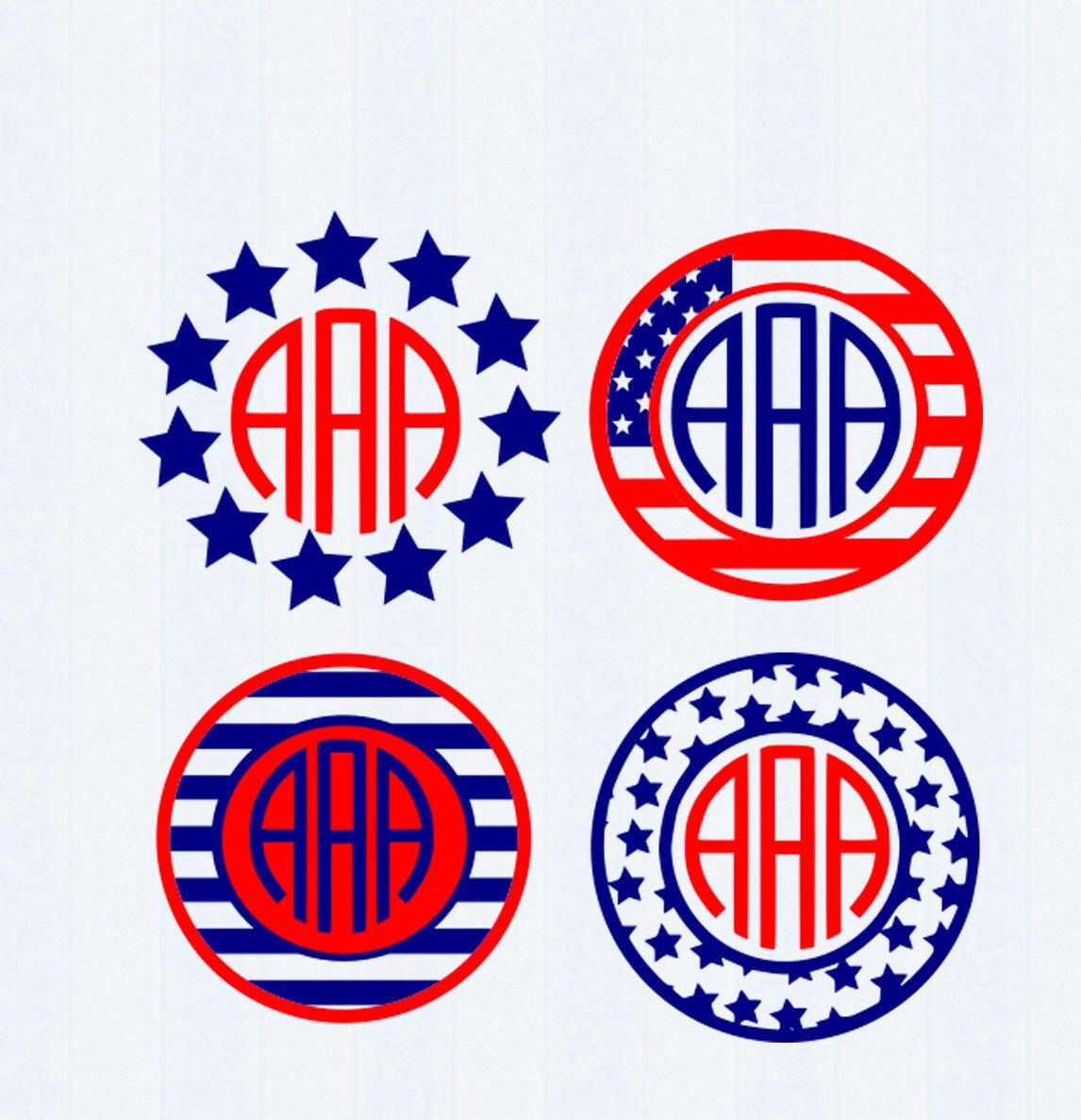 Patriotic July 4th svg American flag svg, USA monogram