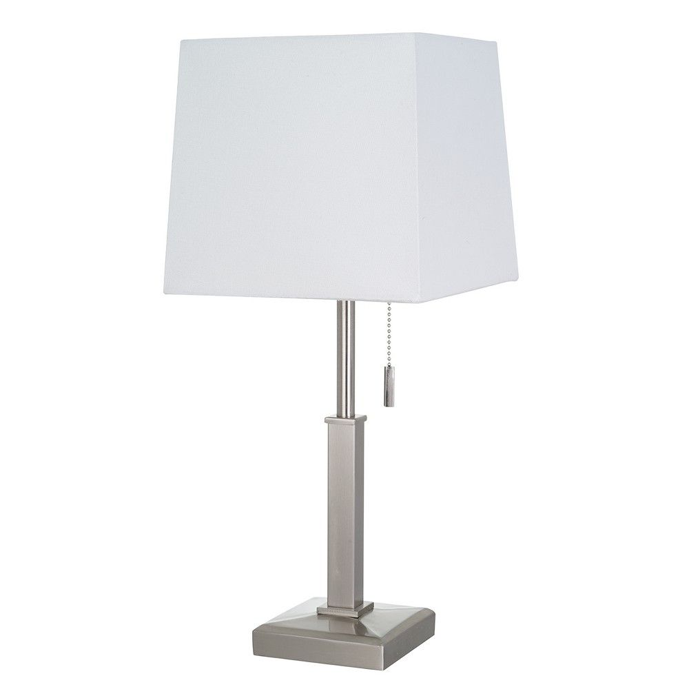 Square Stick With Outlet Table Lamps Nickel Includes Energy Efficient Light Bulb Threshold Table Lamp Free Standing Lamps Light Bulb