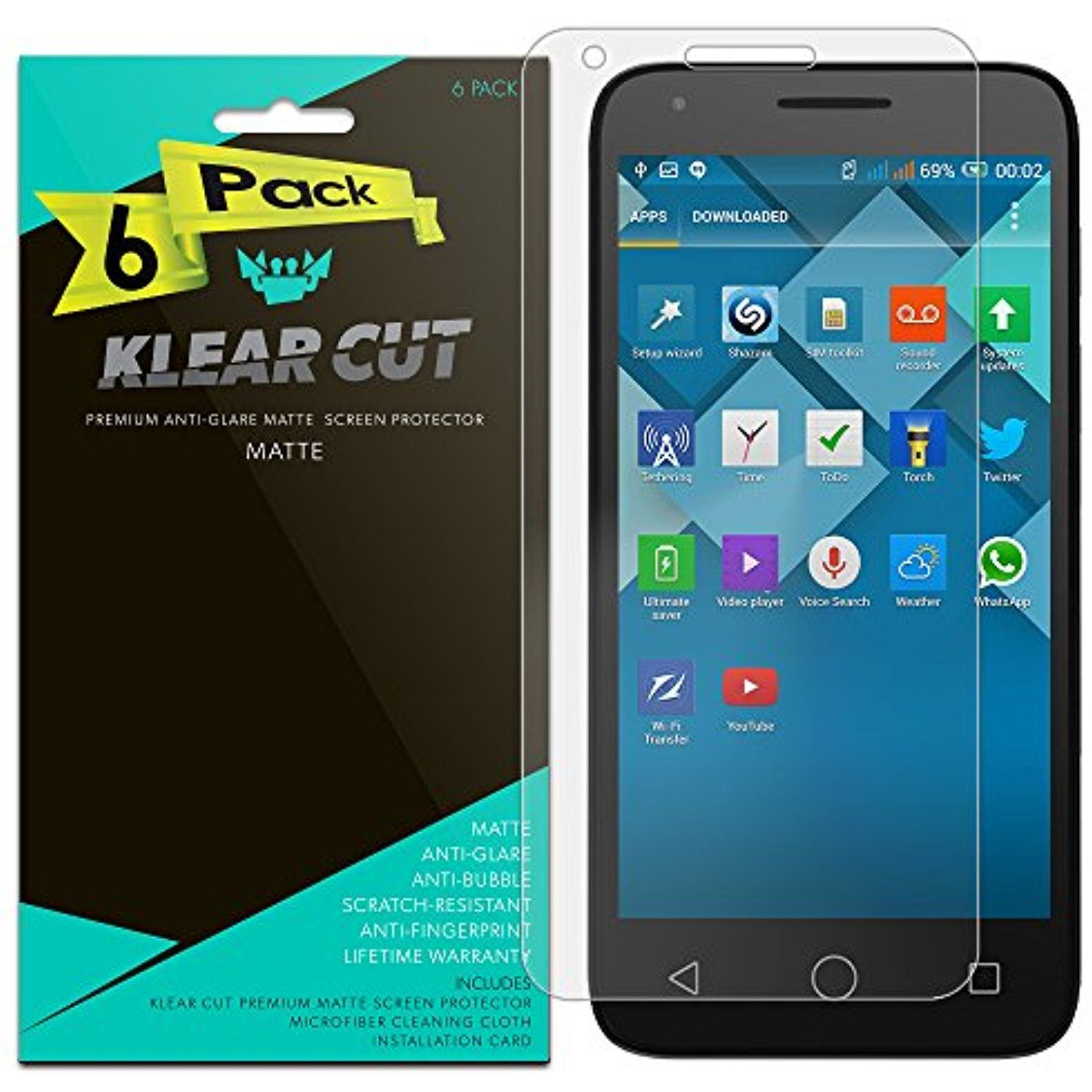 9dab7d9c737 Alcatel Onetouch Pixi 3 45 Screen Protector 6 Pack Klear Cut