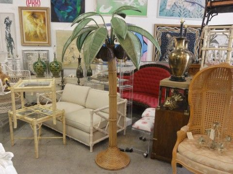 Rattan Palm Tree & Coconut Floor Lamp