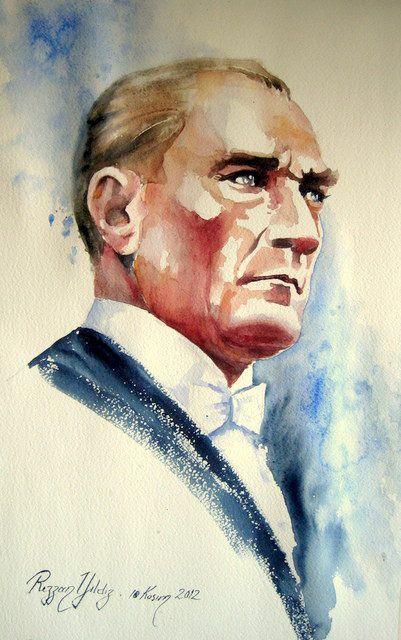 Insan Ressam Rezzan Yildiz Dan Sulu Boya Ataturk Calismalari 62 Eser Sulu Boya Cizimler Resim