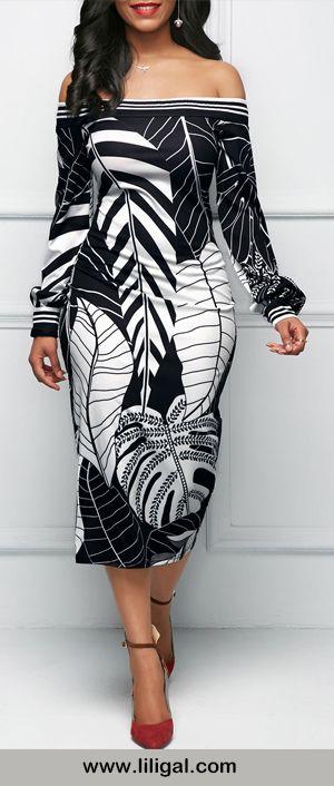 b9dd8336e366 Off the Shoulder Leaf Print Black Sheath Dress
