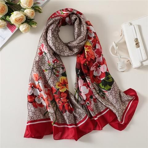 e56ae75d0826 Designer 2018 women scarf luxury brand silk scarves shawls and wraps lady  pashmina foulard winter hijabs beach stoles bandanas