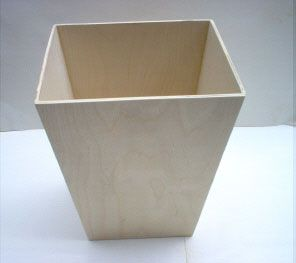 Wooden Wastebasket Maybe Cover With Vintage Rulers Andor Yardsticks Unfinished Wooden