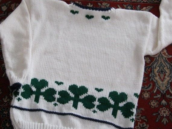 LUCK 'O THE IRISH SWEATER - WHITE WITH PADDY GREEN SHAMROCKS AND NAVY TRIM. 4-PLY ACRYLIC YARN - MACHINE WASH AND DRY - FOR SALE ON ETSY AND MY WEBSITE