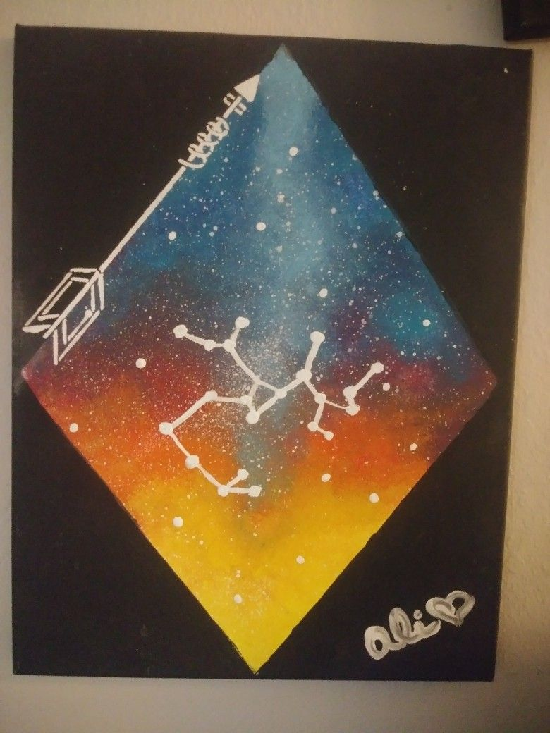 Sagittarius Painting | Painting, Acrylic canvas, Canvas painting