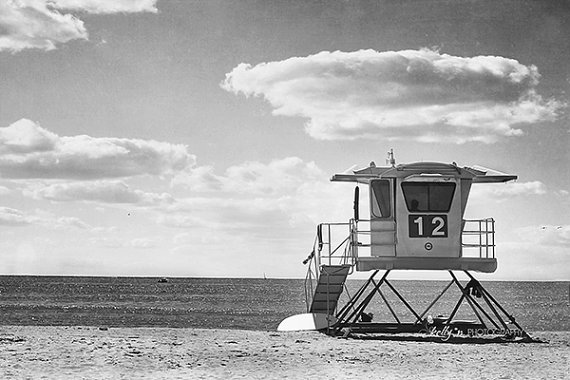 Black and white beach photography lifeguard by kellynphotography