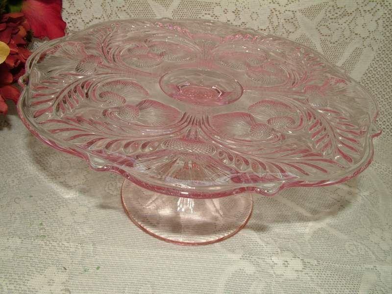 pink glass cake plate