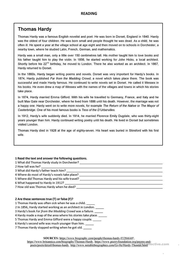 Thomas Hardy Reading Worksheet Free Esl Printable Worksheets Made By Teachers Reading Worksheets Reading Comprehension Passages Reading [ 1079 x 763 Pixel ]