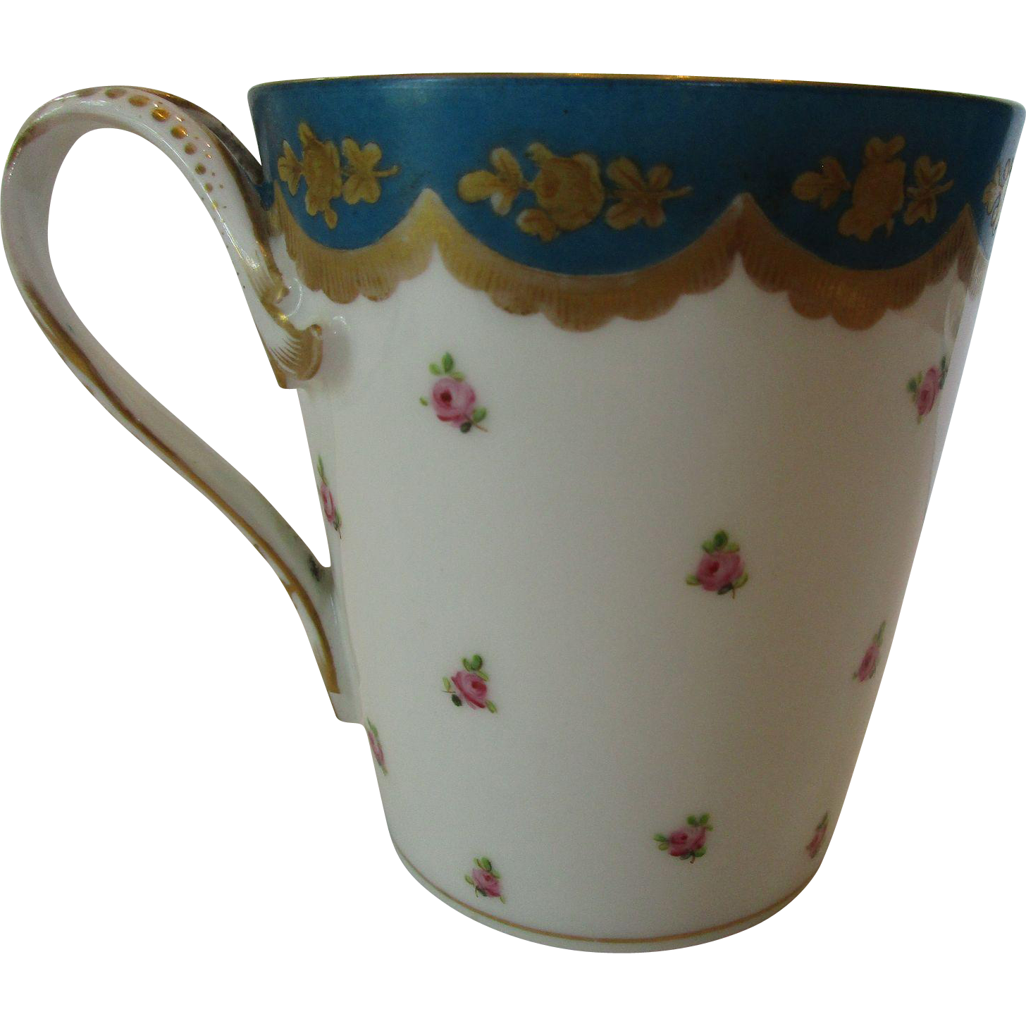 Antique Minton Hand Painted Porcelain Beaker or Cup ~ c. Early 19th C